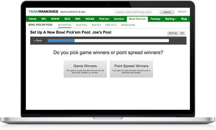 Screenshot of Bowl Pick'em Tool