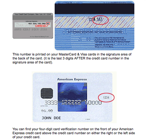 Explanation of where to find credit card security code