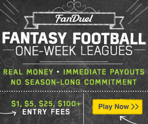 Play Now: FanDuel Fantasy Football One-Week Leagues. Entry fees of $1, $5, 25$, or $100+. Real money, immediate payouts, and no season-long commitment.