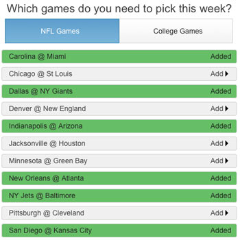 Football Pick'em Pool Picks 2014-15