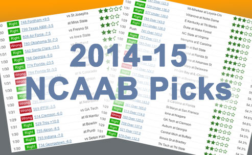 Sample of our 2014-15 NCAAB betting picks