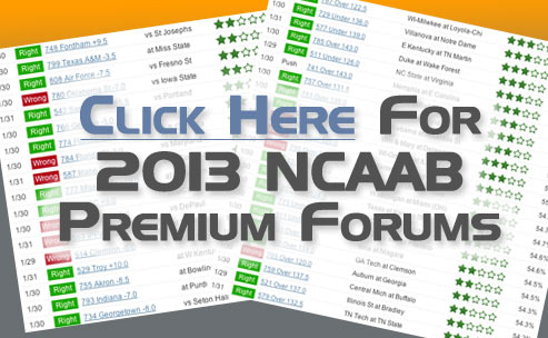 Sample of our 2013 NCAAB betting picks